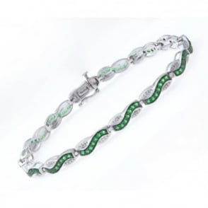 Sterling Silver Bracelet set with Round Emerald Gem Stone and Diamonds