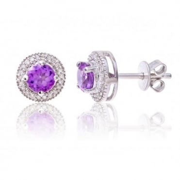 Sterling Silver Earring set with Amethyst Gem Stone and Diamonds