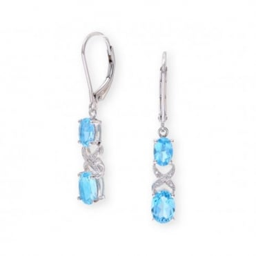 Sterling Silver Earring set with Blue Topaz Gem Stone and and Diamonds