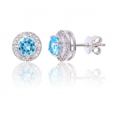 Sterling Silver Earring set with Blue Topaz Gem Stone and Diamonds