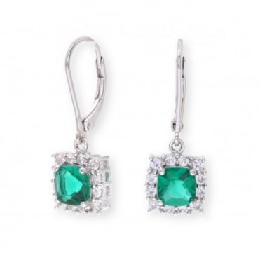 Sterling Silver Earring set with Emerald Gem Stone and with Sapphires