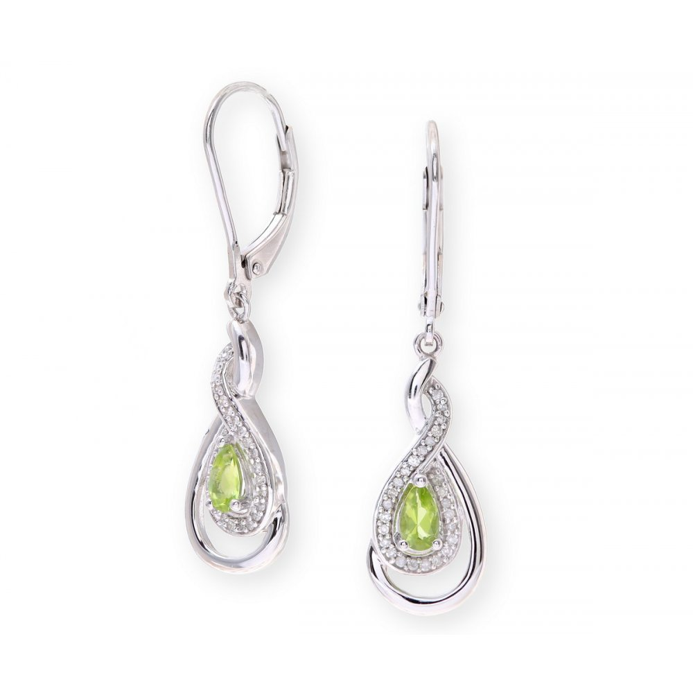 stud thumb coloured oval gold earrings peridot jewellery white stone