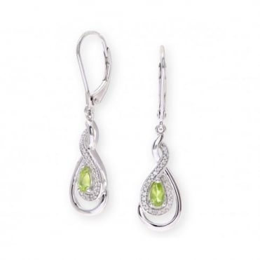 Sterling Silver Earring set with Peridot Gem Stone and Diamonds
