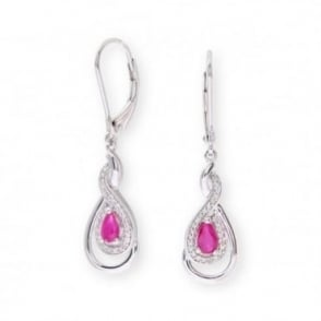 Sterling Silver Earring set with Ruby Gem Stone and Diamonds