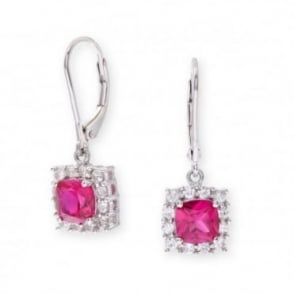Sterling Silver Earring set with Ruby Gem Stone and Sapphires