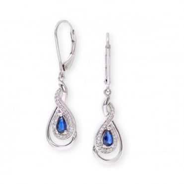 Sterling Silver Earring set with Sapphire Gem Stone and Diamonds