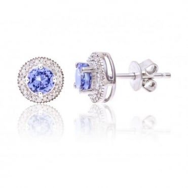 Sterling Silver Earring set with Tanzanite Gem Stone and Diamonds