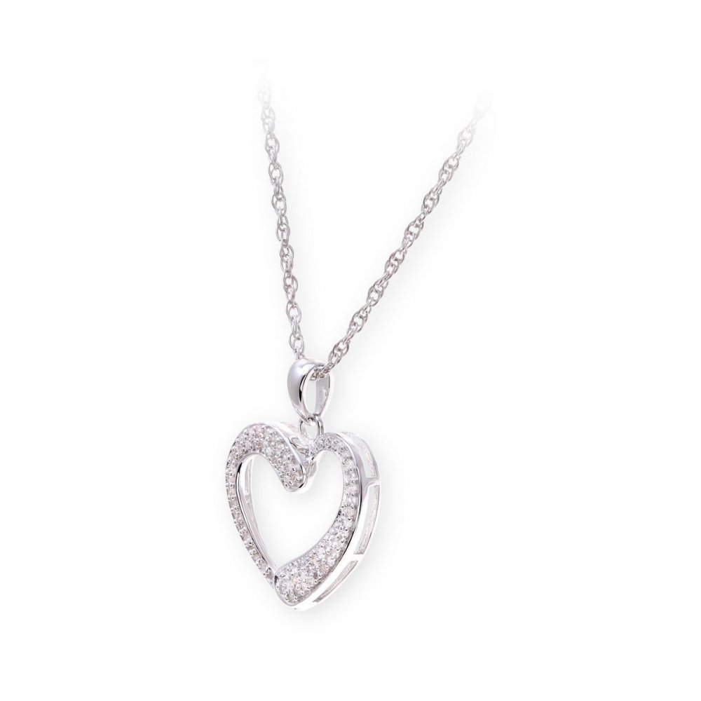Sterling Silver Necklace with Diamond set Heart Shape Pendant