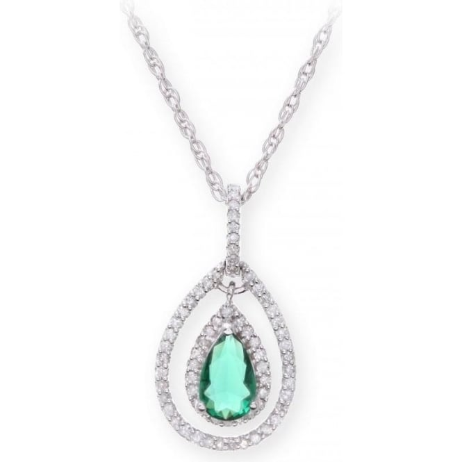 Star Wedding Rings Sterling Silver Necklace with Emerald Gem Stone Pendant and Diamonds