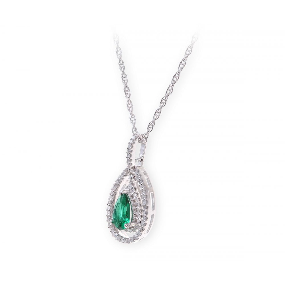Sterling silver necklace with emerald gem stone pendant and diamonds aloadofball Images