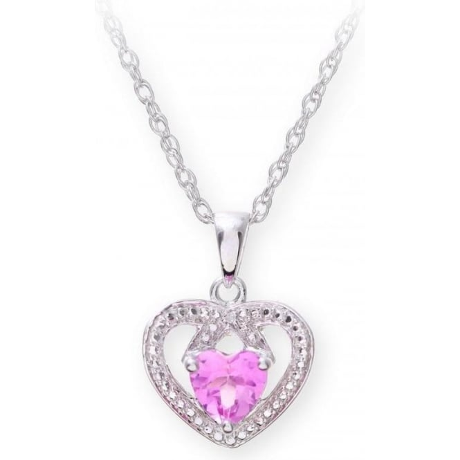 Star Wedding Rings Sterling Silver Necklace with Pink Sapphire Gem Stone Heart Pendant and Diamonds