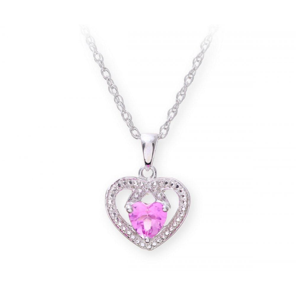 Sterling silver necklace with pink sapphire gem stone heart pendant star wedding rings sterling silver necklace with pink sapphire gem stone heart pendant and diamonds mozeypictures Image collections
