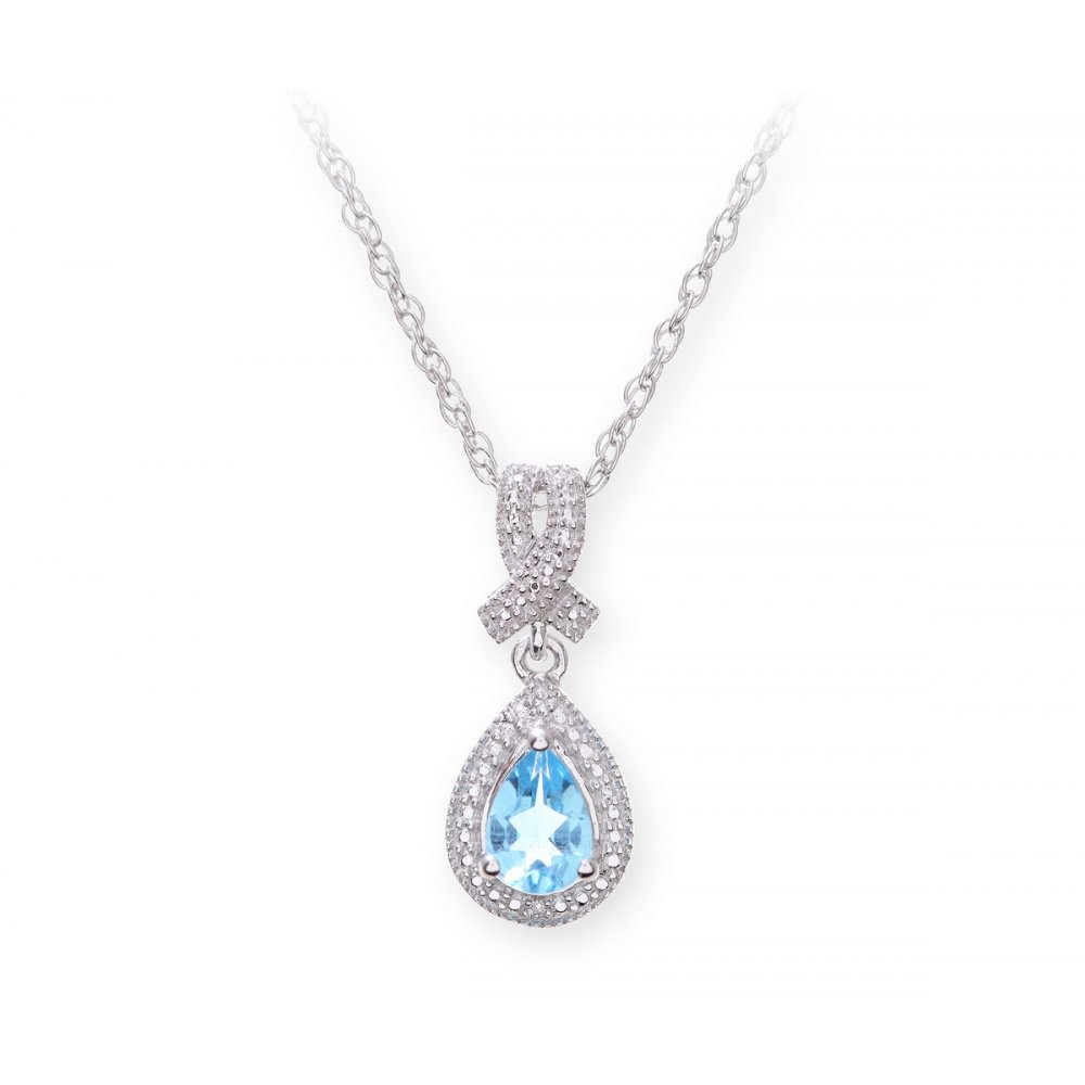 sterling silver necklace with swiss blue topaz gem