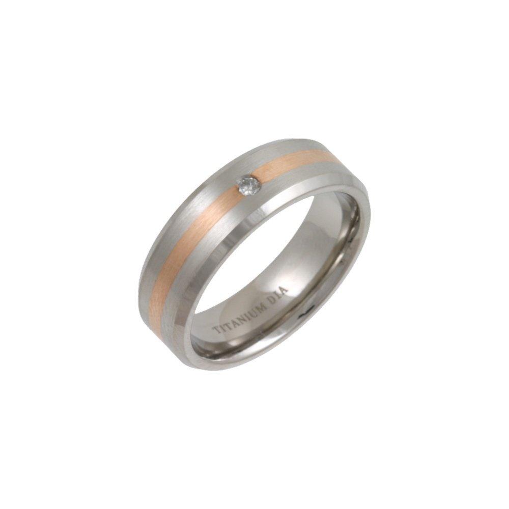7mm titanium and gold wedding ring