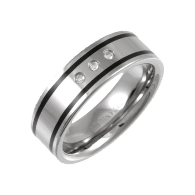 Star Wedding Rings Titanium and Enamel Inlay 0.06ct Diamond 7mm Ring