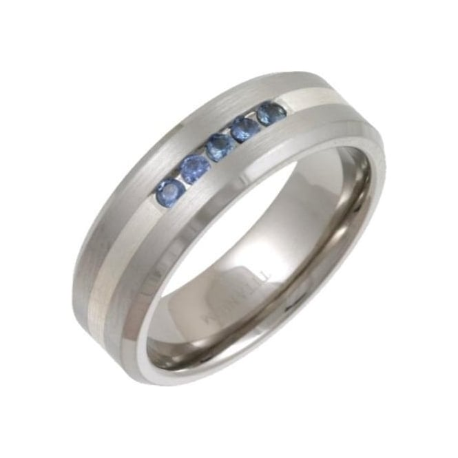 Star Wedding Rings Titanium and Silver Inlay 5 Sapphires Matt 7mm Ring