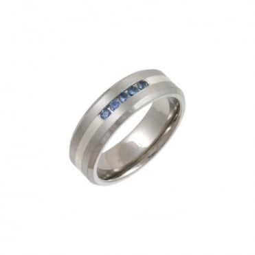 Titanium and Silver Inlay 5 Sapphires Matt 7mm Ring