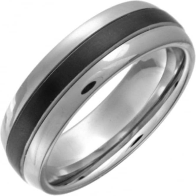 Star Wedding Rings Titanium Court Shape Black Center 7mm Ring