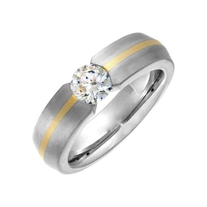 Star Wedding Rings Titanium Court Shape Matt with Gold Inlay CZ Tension Set 7mm Ring