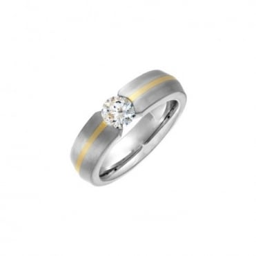 Titanium Court Shape Matt with Gold Inlay CZ Tension Set 7mm Ring