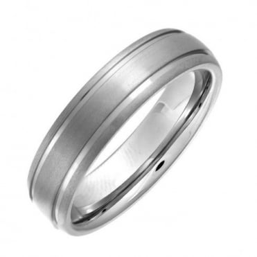 Titanium Court Shape Matt with Polished Grooves 6mm Ring