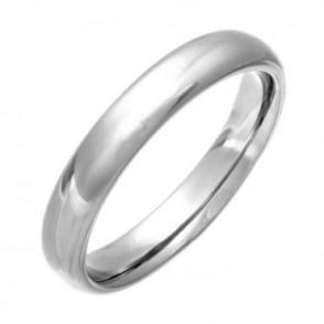 Titanium Court Shape with a Polished Finish 4mm Wedding Ring