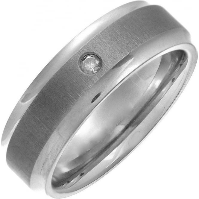 Star Wedding Rings Titanium Flat Court Shape Matt Center 0.05kt Round Diamond 7mm Ring