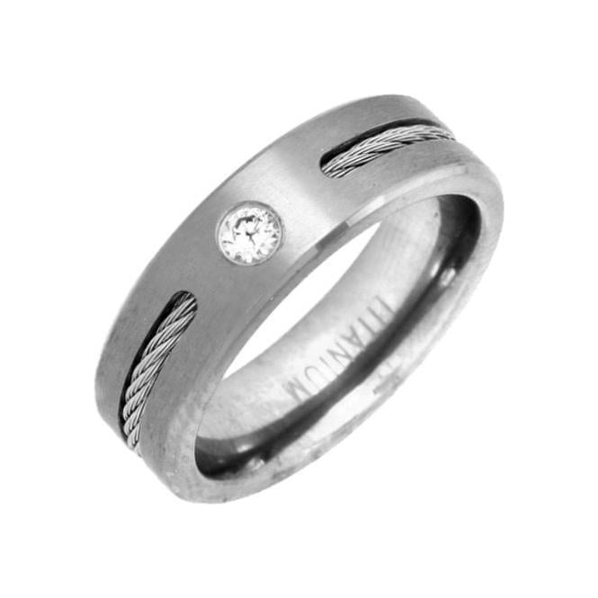 Star Wedding Rings Titanium Flat Court Shape Matt CZ with a Rope 6mm Ring
