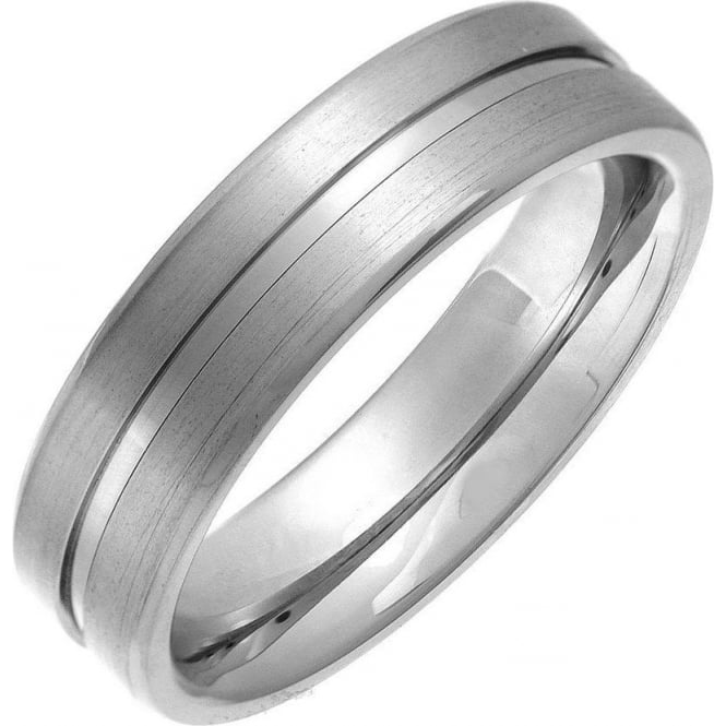Star Wedding Rings Titanium Flat Court Shape Matt with Polished Center Groove 6mm Ring