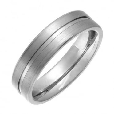 Titanium Flat Court Shape Matt with Polished Center Groove 6mm Ring