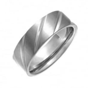 Titanium Flat Court Shape Matt with Polished Diagonal Grooves 7mm Ring