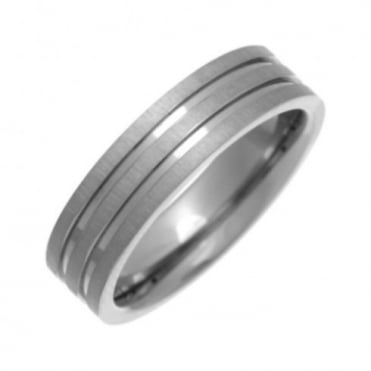 Titanium Flat Court Shape Matt with Polished Grooves 6mm Ring