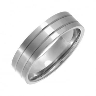 Titanium Flat Court Shape Polished Double Groove 6mm Ring