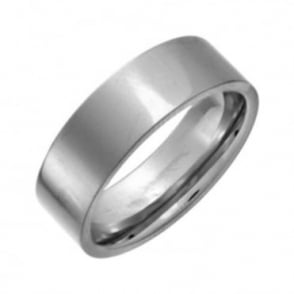 Titanium Flat Court Shape Polished Wedding Ring 7mm