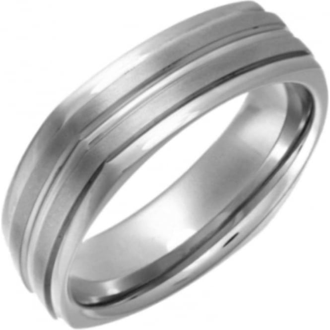 Star Wedding Rings Titanium Flat Court Shape Square Shape Matt and Grooved 7mm Ring