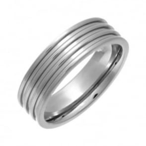 Titanium Flat Court Shape Triple Groove 7mm Ring