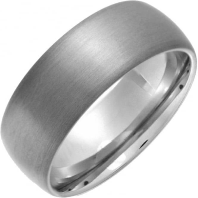 Star Wedding Rings Titanium Matt 8mm Court Shape Wedding Ring