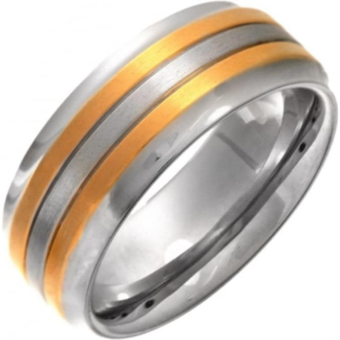 Star Wedding Rings Titanium Matt Center with Two Gold Colour Lines 8mm Ring