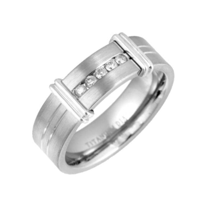 Star Wedding Rings Titanium Matt with Two Grooves 0.15ct Diamond 7mm Ring
