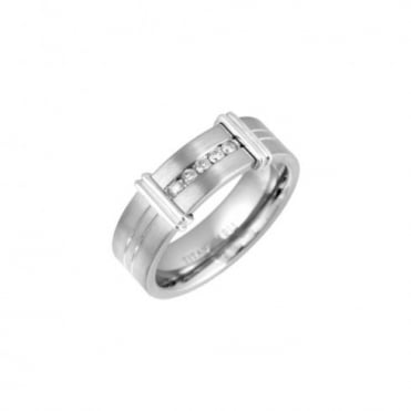 Titanium Matt with Two Grooves 0.15ct Diamond 7mm Ring