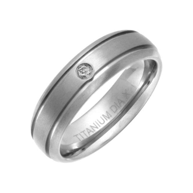 Star Wedding Rings Titanium Matt with Two Grooves Diamond 6mm Ring