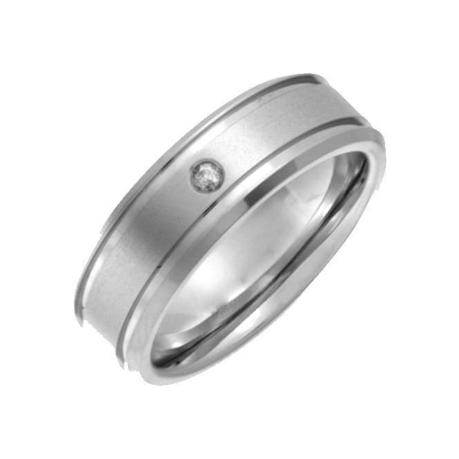 Star Wedding Rings Titanium Matt with Two Grooves  Diamond 7mm Ring