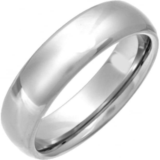 Star Wedding Rings Titanium Polished 6mm Court Shape Wedding Ring