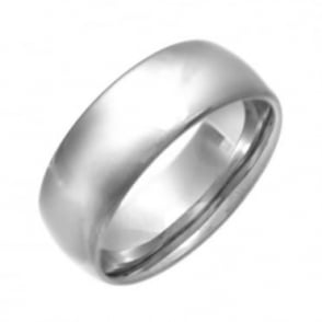 Titanium Polished 8mm Court Shape Wedding Ring