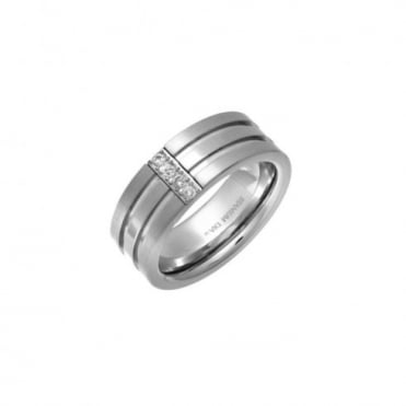 Titanium withGrooves 0.1ct Diamonds Vertically 8mm Ring